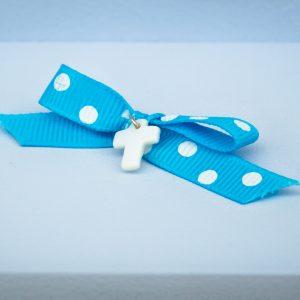 Μαρτυρικά γαλάζιο πουά φιογκάκι