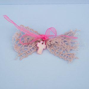 Μαρτυρικά ροζ δαντέλα φιογκάκι