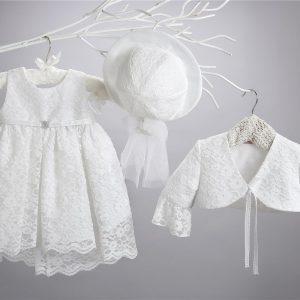 Βαπτιστικό δαντελένιο φόρεμα 2412-1-2