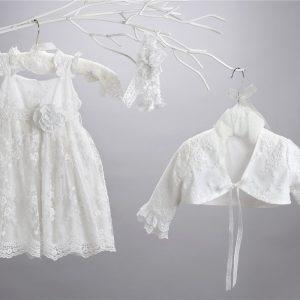 Βαπτιστικό δαντελένιο φόρεμα 2414-1-2