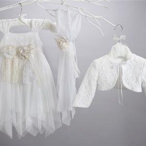 Βαπτιστικό τούλινο φόρεμα 2442-1-3-2-6
