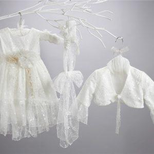 Βαπτιστικό δαντελένιο φόρεμα 2446-2