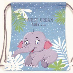 γαλάζια πάνινη τσάντα πλάτης ελεφαντάκι
