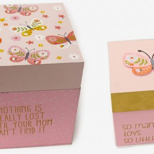 Ξύλικος κύβος-κουτί πεταλούδα σετ των 2 τμχ
